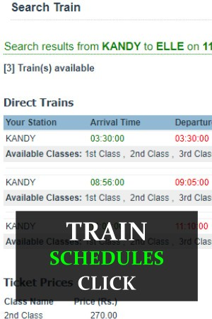 Train schedules Sri Lanka